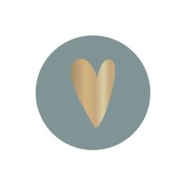 Sticker  sluitzegels | faded blauw foil hartje goud  - 10stk