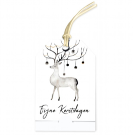 Cadeau kaartje kerst | wit hert | pstk