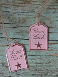 "Label / ""Good Luck""  roze"