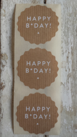 Sticker / kraft / happy b*day / 10 stuks