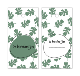 Label wit groen - herfstbladeren - 'n kadootje | 5stk