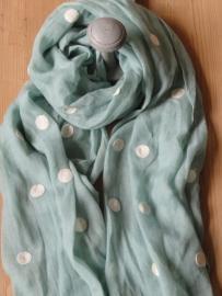 Sjaal | mint met geborduurde stippen
