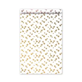 Zakjes wit hartjes goud - roze | 12x19cm | 5stk