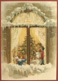 Kerstkaart - Raam familie rond de kerstboom   Glitter   nostalgisch