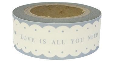 "EI 4752 Rol paper tape ""LOVE IS ALL YOU NEED"" wit met grijze tekst"