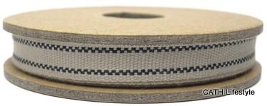 EI 2353 Band 3 meter spoel zwart 2 strepen in creme geweven