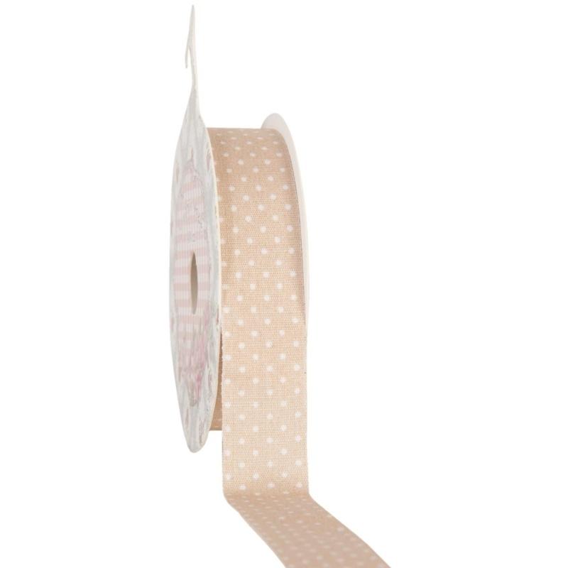 Tape / stof beige met stippen