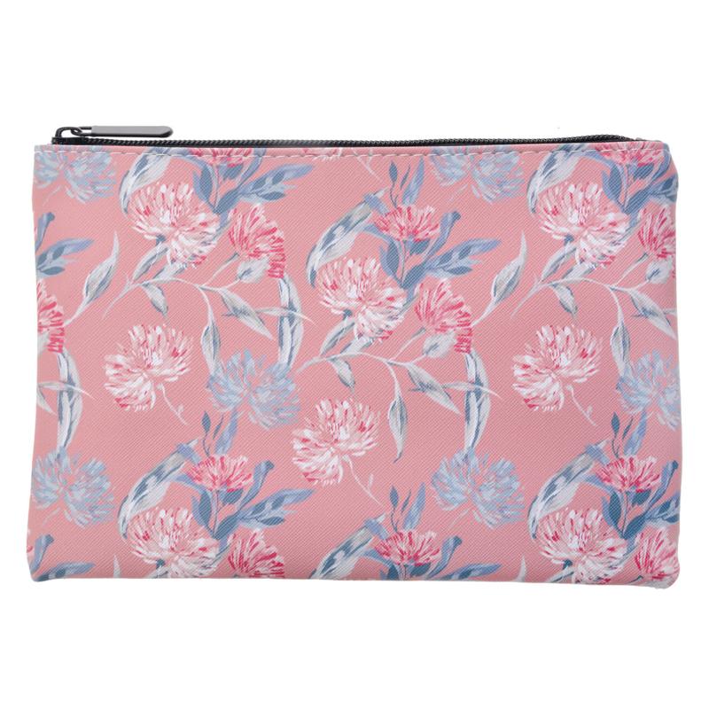 XL etui / toilettasje - roze bloemen