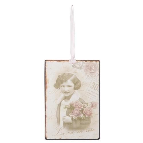 Label / dame met rozen