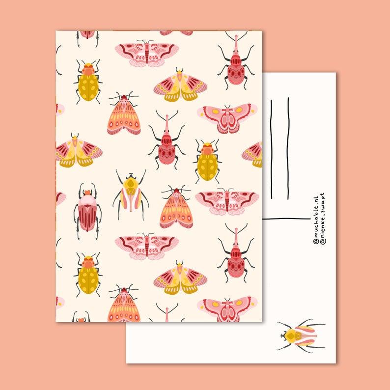 Ansichtkaart - vlinders insecten