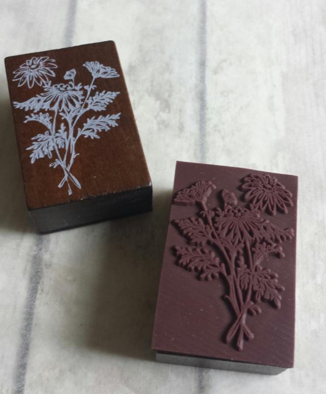 Houten stempel / bos plant