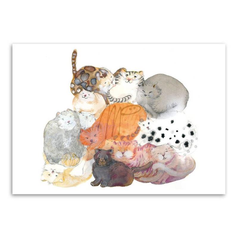Dubbele kaart - Moniek Peek - Fluffy bundle - katten