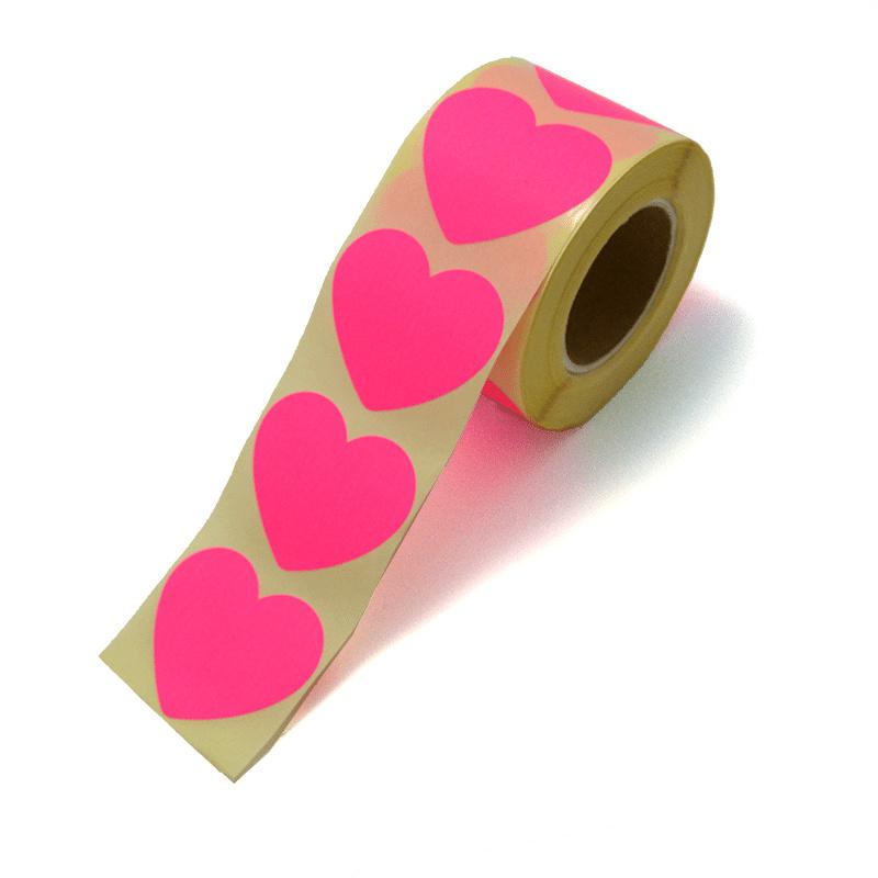 Sticker hart fluor pink L / 5 cm  /20 stk