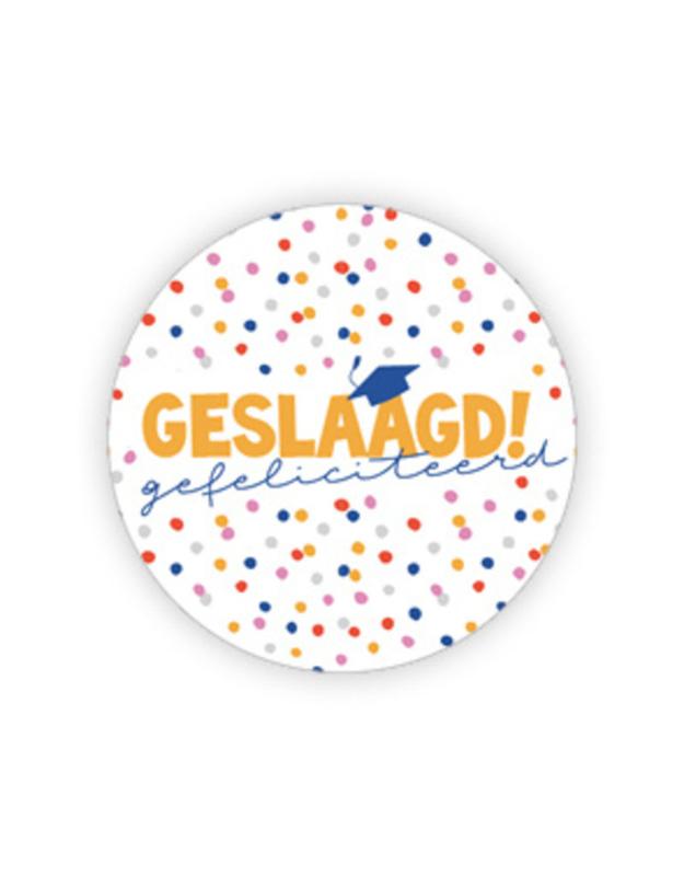 Sticker - Geslaagd - confetti   35mm   20stk