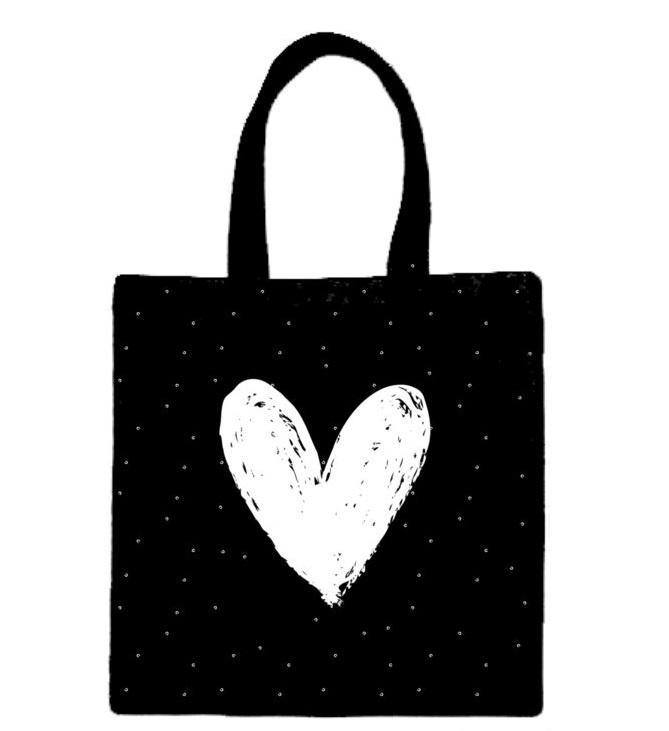 Tas zwart met wit hart