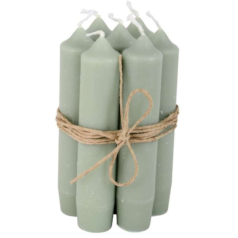 Kaarsen dusty green / korte dinner kaarsen