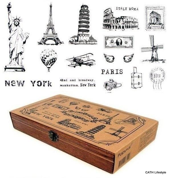 Mooie Houten Stempels.Stempels Set Vintage 15 Stk In Mooie Houten Doos