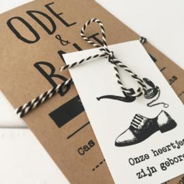 Geboortekaart met labeltje Ode & Balt