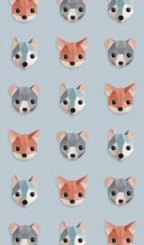 Behang bosdieren ijsblauw