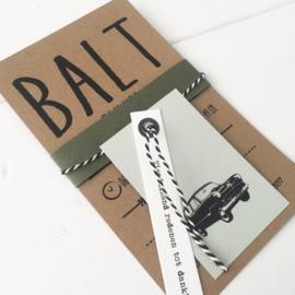 Geboortekaart met labels Balt