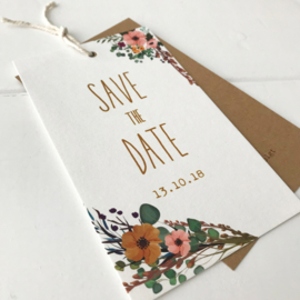 Save the Date label biotop-krant bloemen