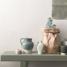 Paperbag kraft met bloem 50 cm x 34 cm