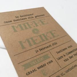 Geboortekaart Mirre & Meike