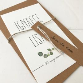 Save the Date kaart Ignaece & Lisan
