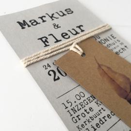 Trouwkaart grijskarton/kraftkarton Markus & Fleur