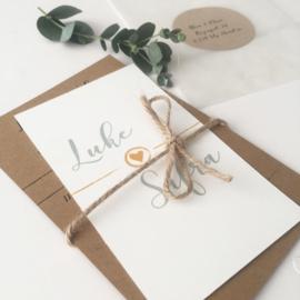 Trouwkaart Luke & Sifra  okergeel/mintgroen