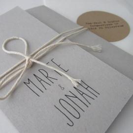 *NIEUW* Trouwkaart pocketfold Marte & Jonah