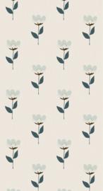 Behang Retro bloem blauw