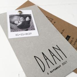 Geboortelabel Daan met foto