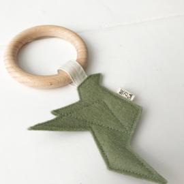 Bijtring origamivogel  groen