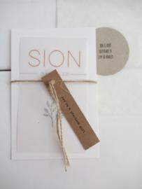 *NIEUW* Geboortekaart Sion oud kalk - oud hollands