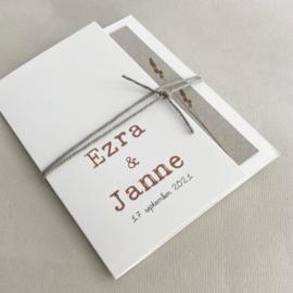 *NIEUW* Trouwkaart pocketfold Ezra & Janne biotop | grijsboard