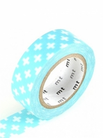 MT Maskingtape cross light blue - masking tape blauw met kruisjes