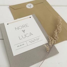 *NIEUW* Trouwkaart Nore & Luca