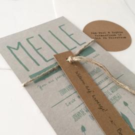 Geboortekaart met labels Melle grijsboard