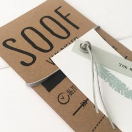 Geboortekaart karton met labels Soof