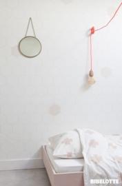 Behang Honingraat wit-roze