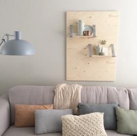 Wandpaneel met planken  underlayment/vilt grijs met knopen
