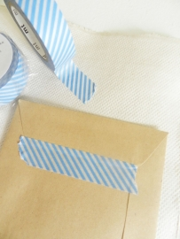MT Maskingtape stripe light blue - masking tape lichtblauw gestreept