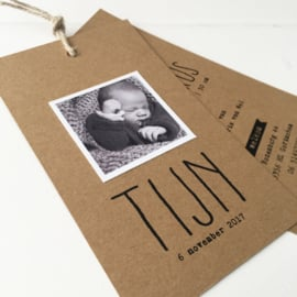 Geboortelabel met foto Tijn