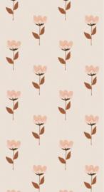 Behang Retro bloem roze
