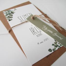 Trouwkaart set eucalyptus Sijmen & Iris