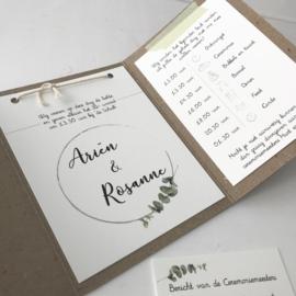 Trouwkaart pocketfold Arien & Rosanne