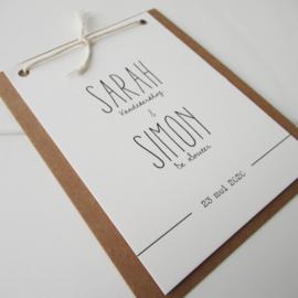 Trouwkaart Sarah & Simon