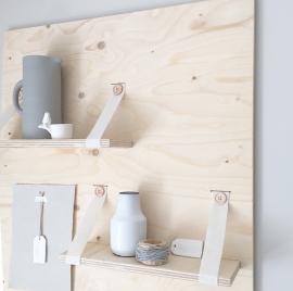 Wandpaneel met planken  underlayment/vilt warmwit met knopen