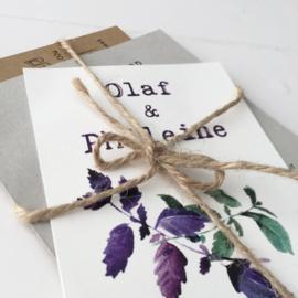 Trouwkaart pakket Olaf & Phileine groen/paars blad